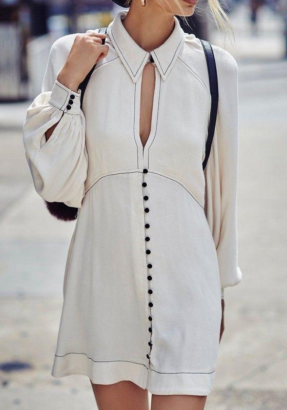 vit utklädd klänning retro