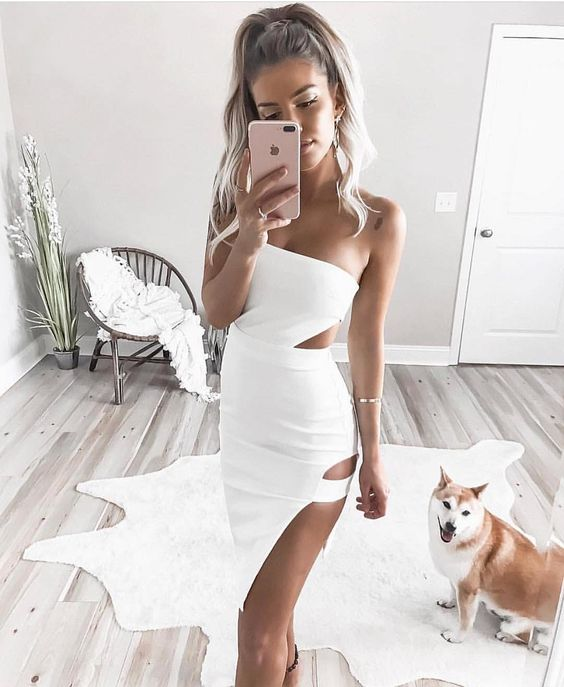 vit klipp ut klänning gudinna