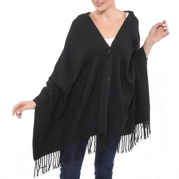 Knapp svart halsduk vit linne