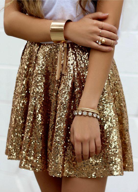 gyllene kjol paljetter