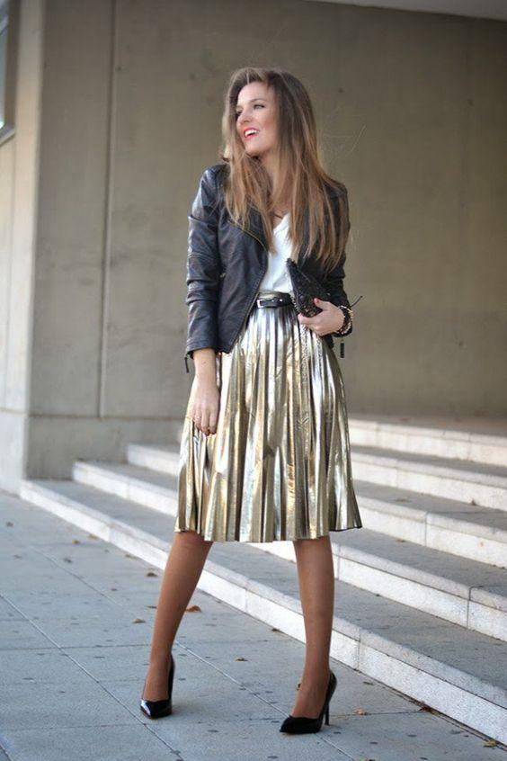 gyllene kjol midi