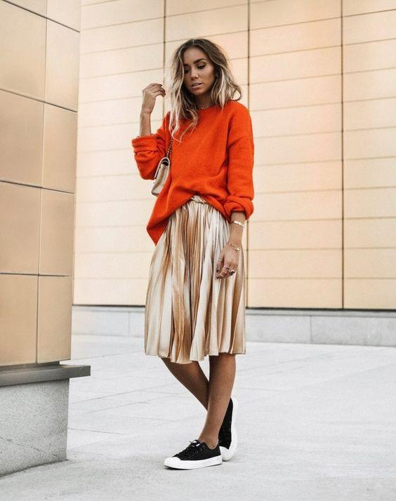 Guld kjol överdimensionerad tröja