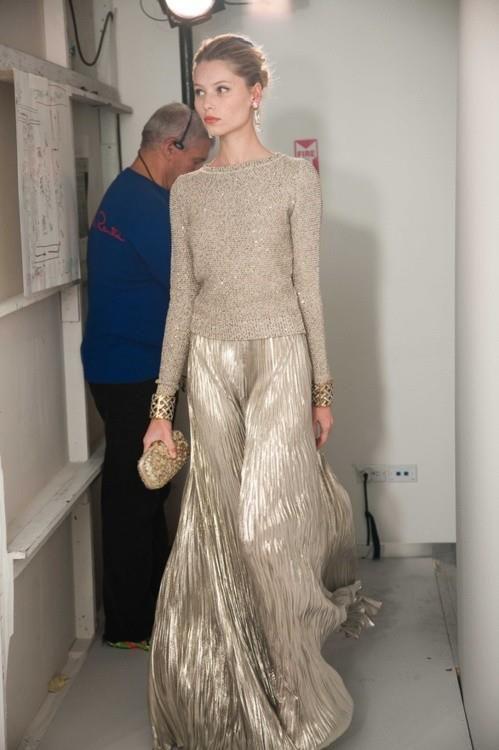 Guld kjol maxi