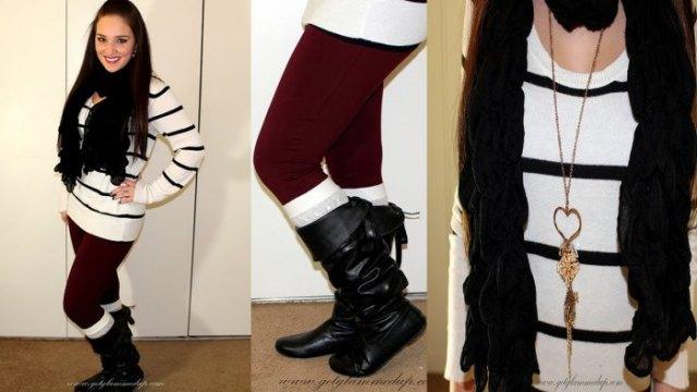 vit och svart randig tunikatröja med vinröd leggings och höga stövlar