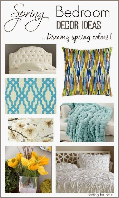 Spring Bedroom Decor Inspiration med drömmande vårfärger.