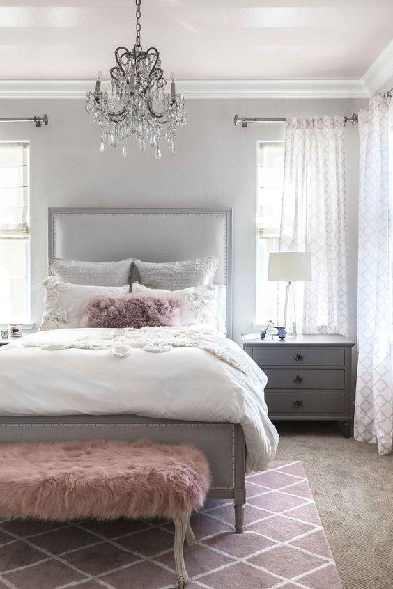 25 enkla sätt att göra ett grått sovrum coolt  Decoração de casa.