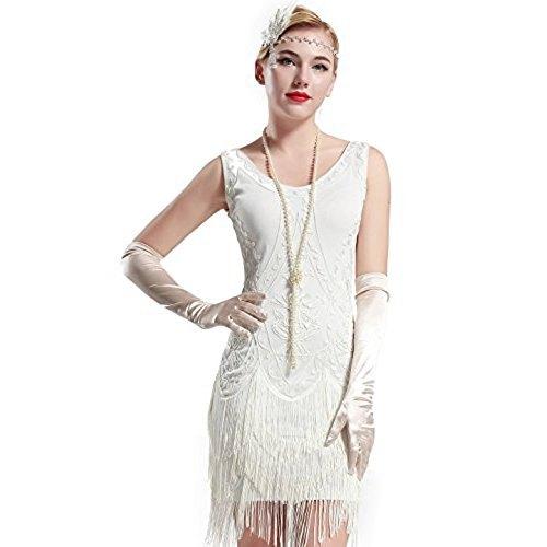 vit miniklänning med långa sidenhandskar