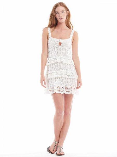 vit fyrkantig spets mini-klänning för klänning