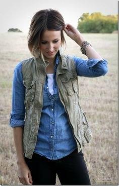 olivgrön väst med ljusblå chambrayskjorta och mörka jeans