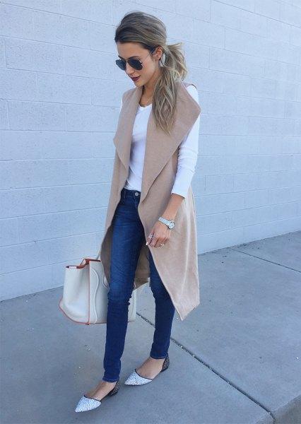 Blushrosa ull ärmlös lång grå vit topp jeans