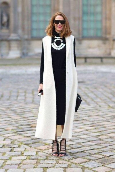vit maxi vest svart midiklänning