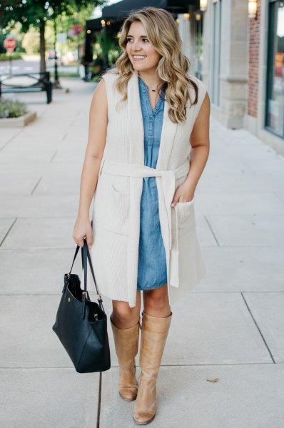 vit ärmlös chambray skjortklänning med väst och bälte