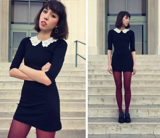 svart klänning med korsad krage och strumpor och oxfordskor