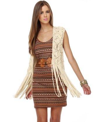 Boho shift klänning vit väst