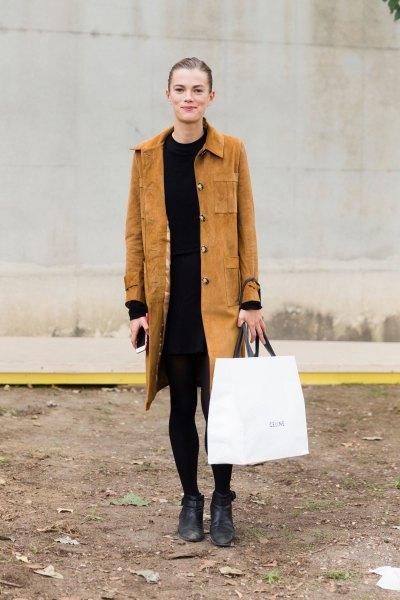 brun mocka longline kappa med svart skift klänning
