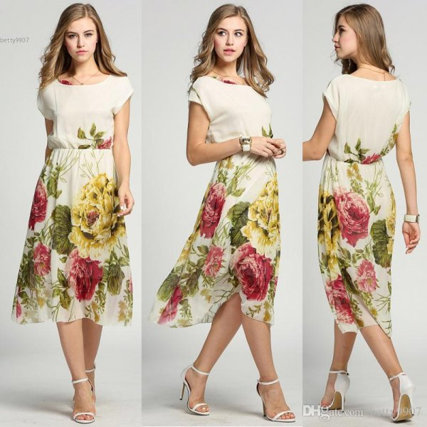 vit och gul hawaiisk stil chiffong midiklänning med blommigt tryck