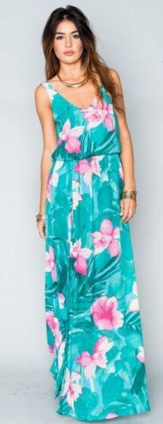 blågrön ärmlös klänning med urringning och blågrönt maxi Hawaii-tryck
