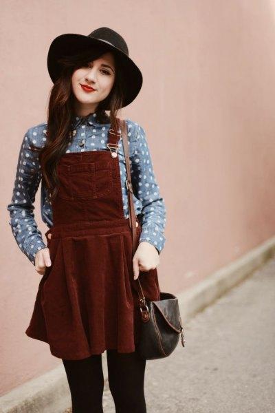 brun corduroy klänning grå prickig skjorta