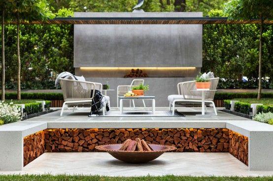 Snygg modern trädgård och terrassdesign av Nathan Burkett.
