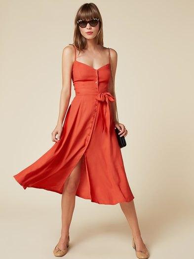 Orange knäppning fram älskling midiklänning