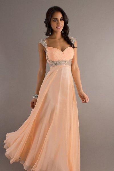 Peach Sweetheart Maxi Tyll Dress