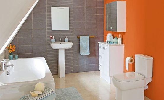 31 coola orange designdesigner för badrum    DigsDigs    Orange badrum.
