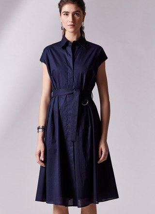 Mörkblå midiklänning med kepsärmar