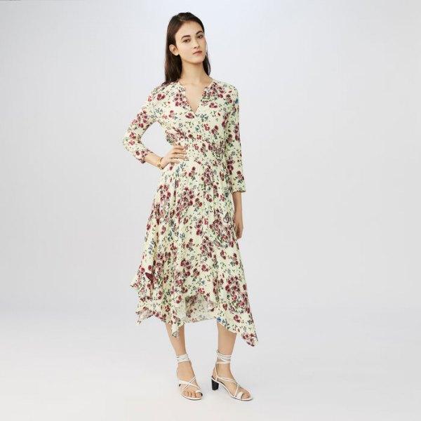 Wrap klänning i chiffong midi med ljusgult tryck