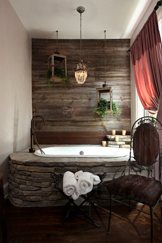 61 Underbara stenbadrumsmönster    Rüstik banyolar, Ev için.