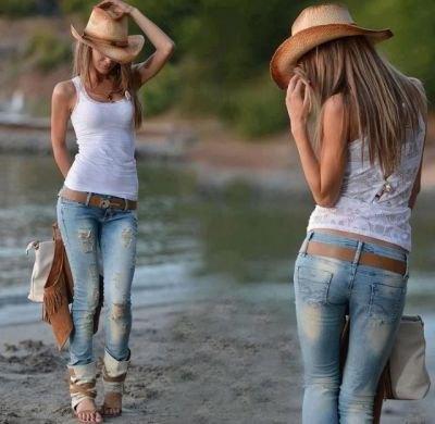 Halm cowboyhatt med vit tank och rippade skinny jeans