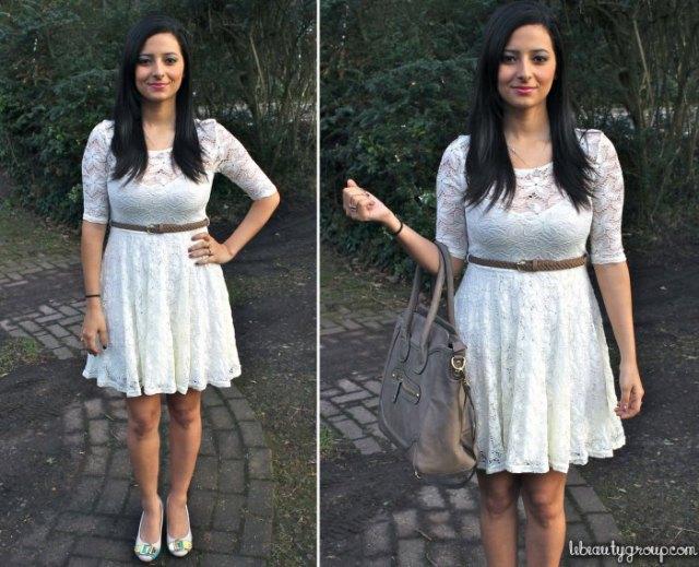 vit knälång klänning med bälte och halva ärmar