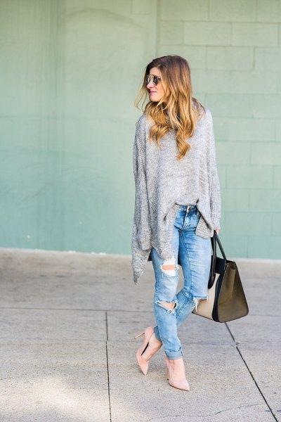 ljunggrå tunika tröja med pojkvän jeans