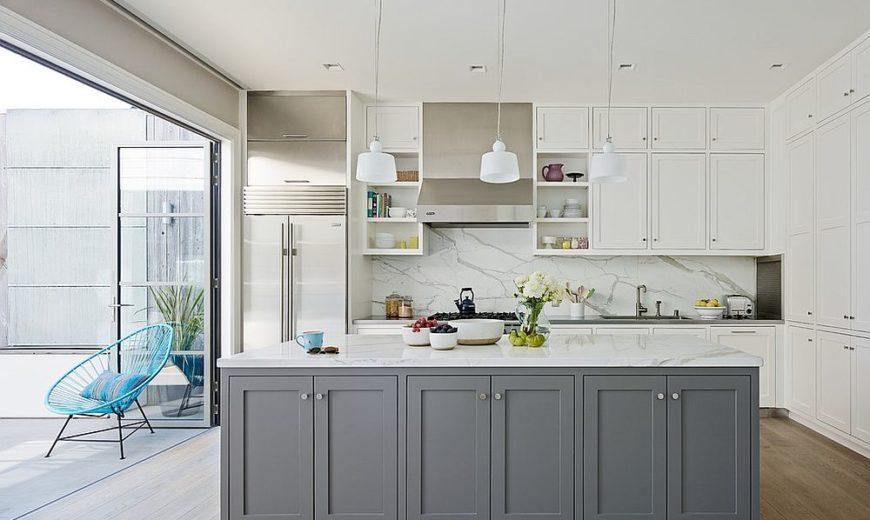 Klassisk och trendig: 45 grå och vit köksidé
