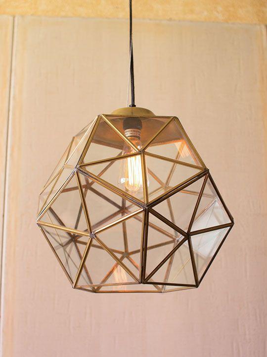 Guldglas Geometriskt stort hänglampa |  Moderna möbler.