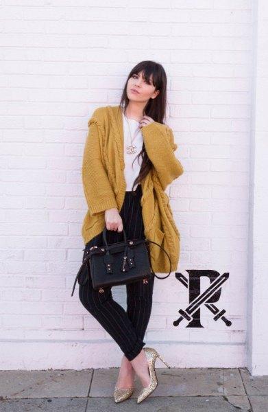 Longline Chunky Sweater Cardigan med gyllene paljettklackar