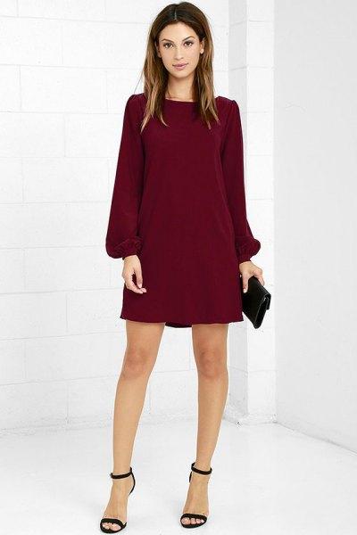burgundy långärmad skiftklänning