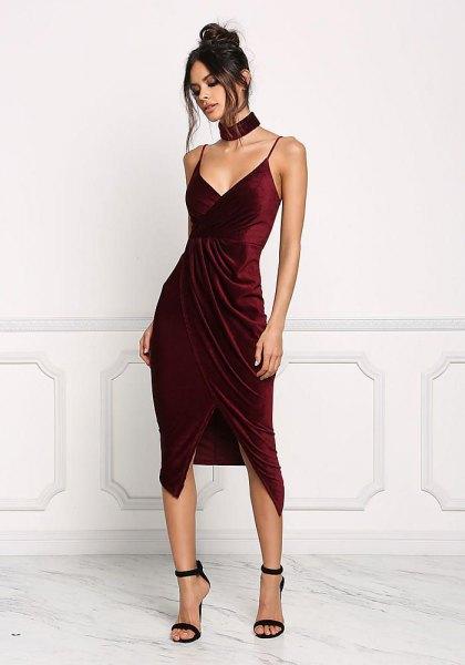 Burgundy Velvet Cocktailklänning med högt lågt omslag