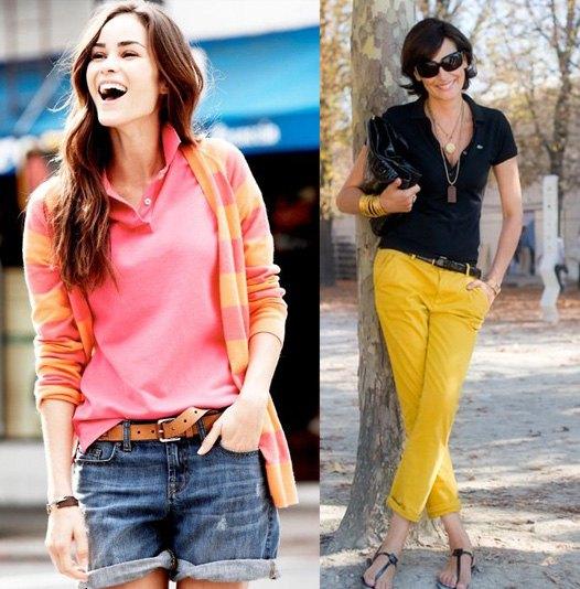 rosa och gul randig kofta med blå jeansshorts med bälte