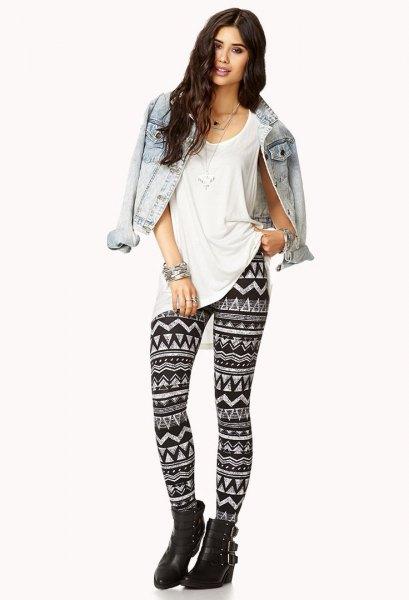 Denim jacka överdimensionerade leggings med T-shirt tryck