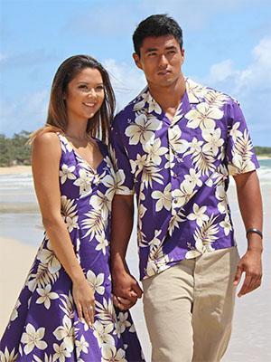 ärmlös hawaiiansk miniklänning med kungsblå passform och flare