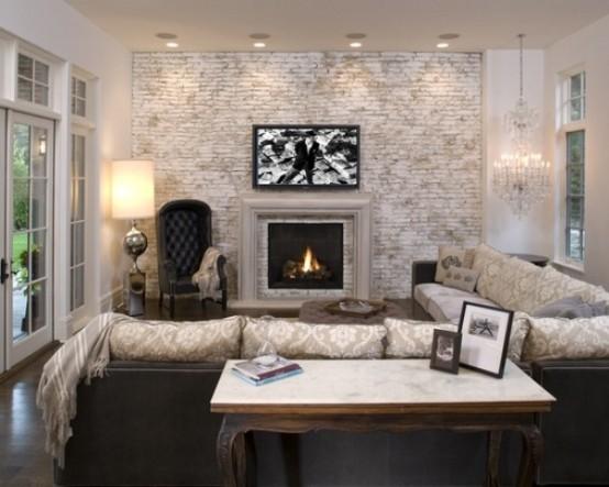 77 coola vardagsrum med tegelväggar - DigsDi