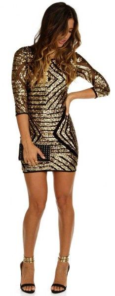 Bodycon klänning med halva ärmar i guld och svart paljetter