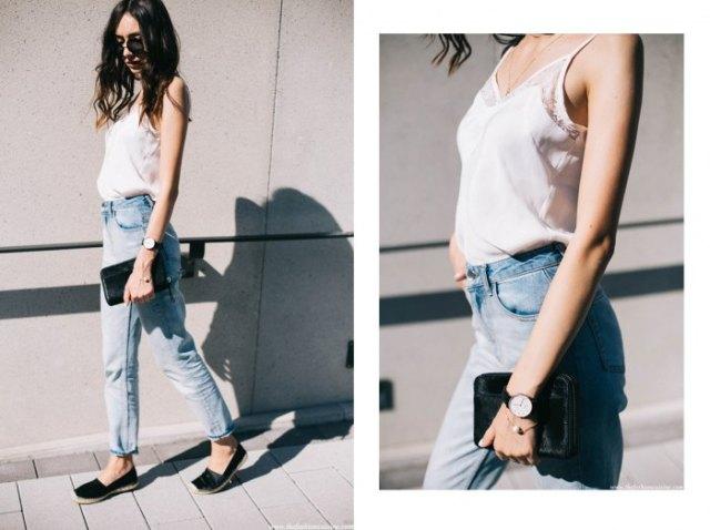 vita spetsar jeans med pojkvän
