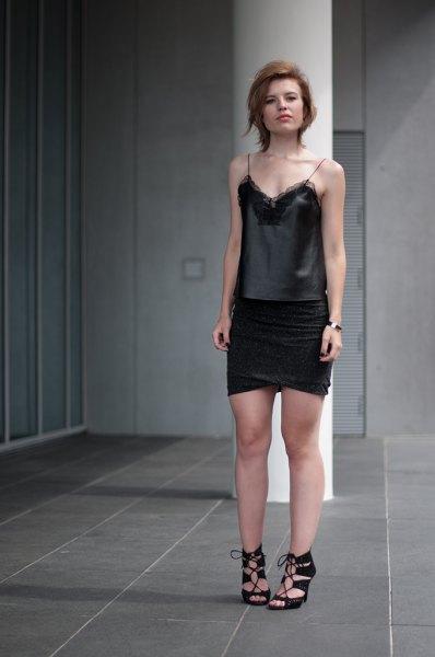 Spetsskjorta svart wrap mini kjol