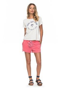 vit tryckt t-shirt med rodnande rosa fleeceshorts