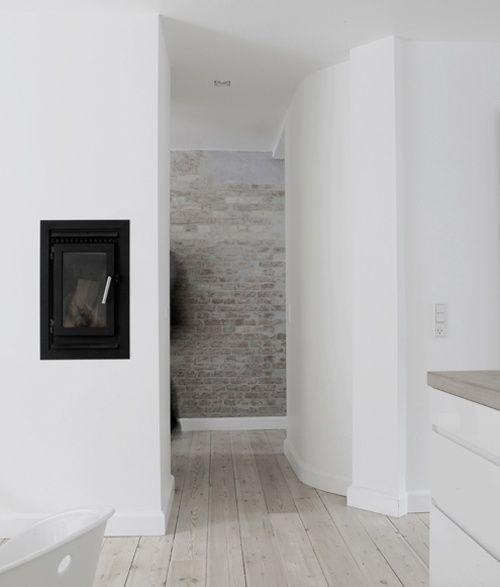 37 imponerande vitkalkade tegelväggdesigner |  Brique blanche.