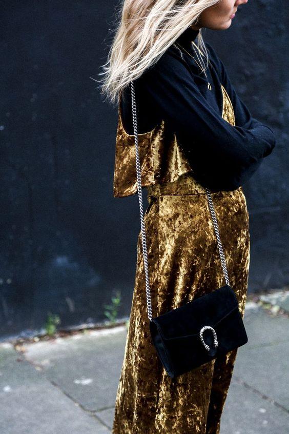 gyllene sammet klänning sammet