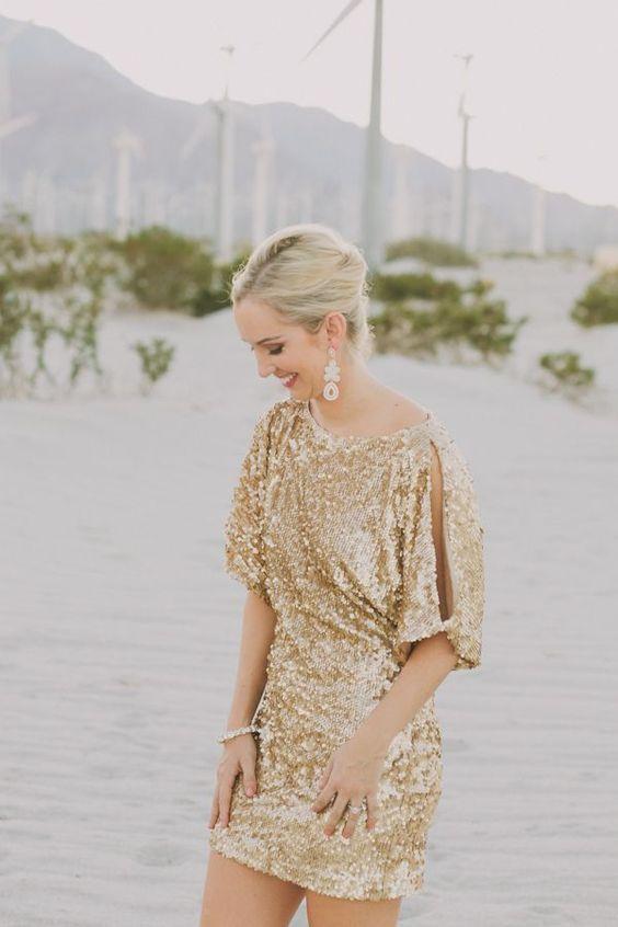 Guld mousserande brudtärna klänning