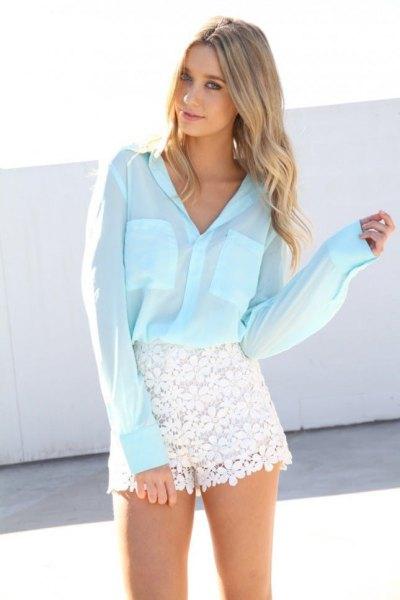 vit skjorta spets shorts med knappar