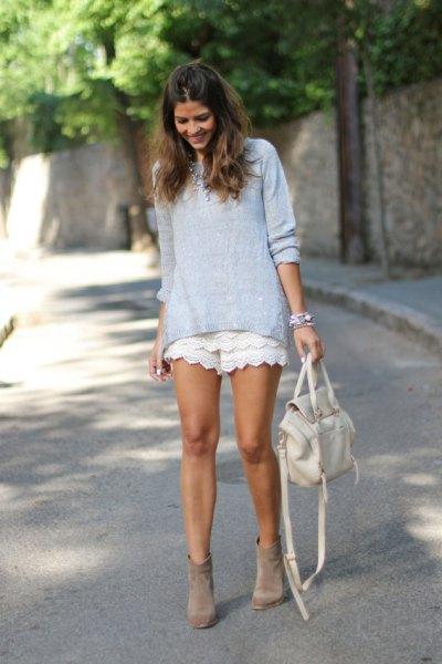 vita spets shorts tiffany blå topp